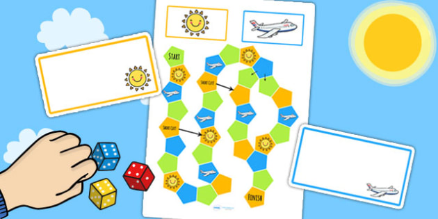 Summer Themed Editable Board Game - seasons, weather, games