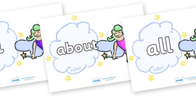 100 High Frequency Words on Fairies (Multicolour) - High frequency words, hfw, DfES Letters and Sounds, Letters and Sounds, display words