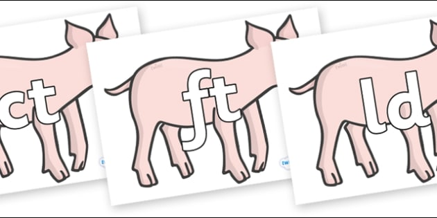Final Letter Blends on Piglets - Final Letters, final letter, letter blend, letter blends, consonant, consonants, digraph, trigraph, literacy, alphabet, letters, foundation stage literacy