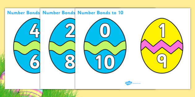 Easter Egg Number Bonds to 10 - Number Bonds, Easter, Easter Egg, Matching Cards, Clothing Cards, Number Bonds to ten, bible, egg, Jesus, cross, Easter Sunday, bunny, chocolate, hot cross buns