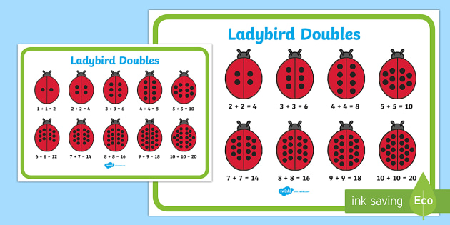 Doubles to 20 Ladybird Display Poster - doubles, 20, ladybird, display, poster