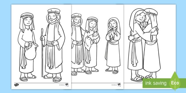 Ruth And Naomi Women In The Bible Colouring Pages