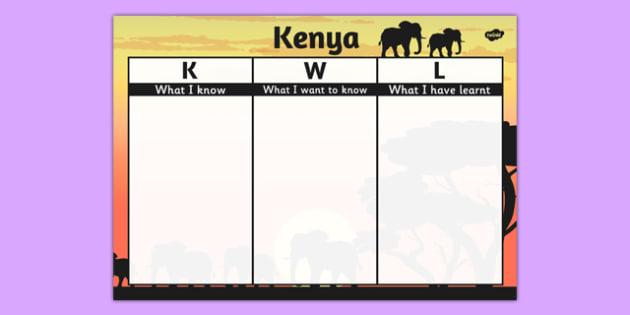 Kenya Topic KWL Grid - kenya, topic, kwl, grid, know, learn