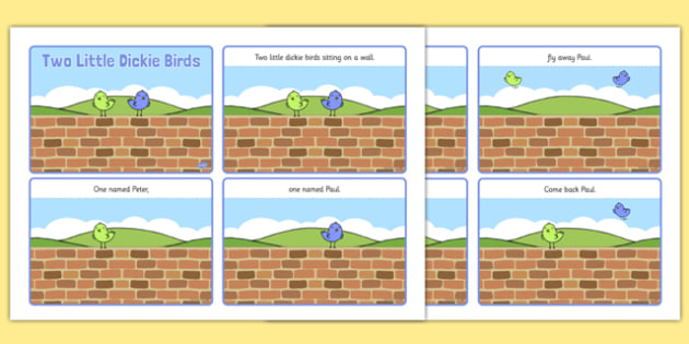 Two Little Dickie Birds Sequencing (4 per A4) - Two Little Dickie Birds, nursery rhyme, sequencing, rhyme, rhyming, nursery rhyme story, nursery rhymes, Two Little Dickie Birds resources, Peter, Paul