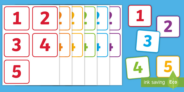 👉 Small Number Cards 1 to 5 (teacher made)