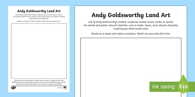 KS2 Andy Goldsworthy Land Art Worksheet