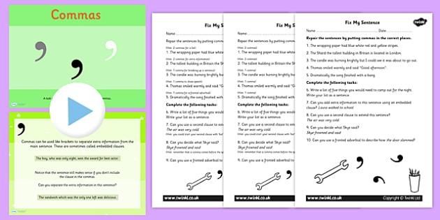 Using Commas PowerPoint Task Setter Activity Pack KS2 English