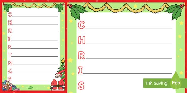 Christmas Acrostic Poem - acrostic poem, acrostic, poem, poetry, christmas, xmas, literacy, writing activity