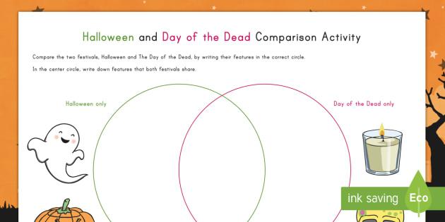 Halloween and Day of the Dead Comparison Activity - Halloween, Day of the Dead, comparison, activity, holiday, dia de los muertos