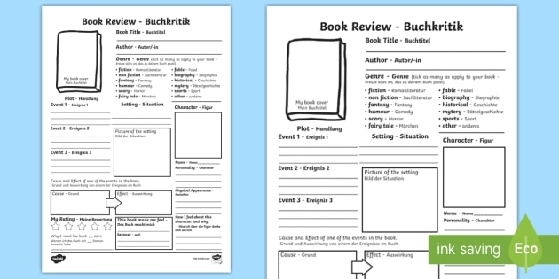 In Depth Book Review Writing Template EnglishGerman  In Depth