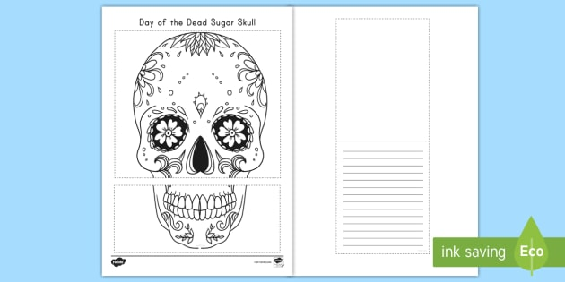 Day of the Dead Sugar Skull Writing Template - day of the dead