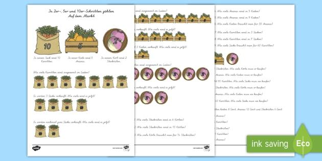 In 2er , 5er und 10er Schritten zählen Arbeitsblatt - In 2er