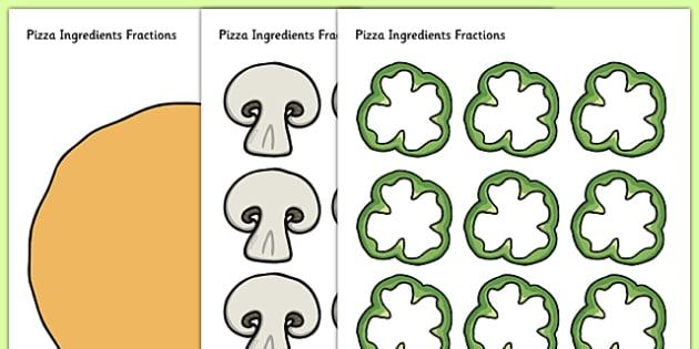 T N 2932 Pizza Ingredients Fractions on Ingredients Pizza Preschool Worksheets