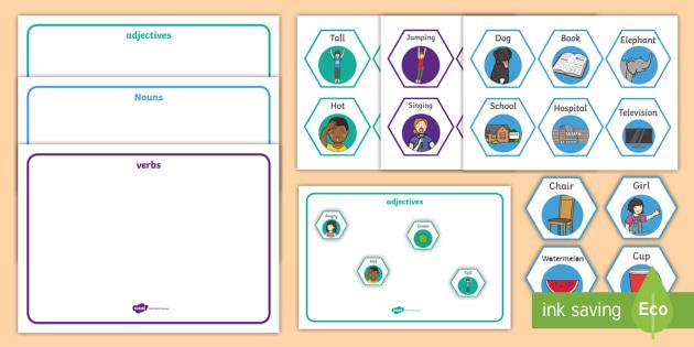 Verbs, Adjectives and Nouns Literacy Centre Activity - Explore ...