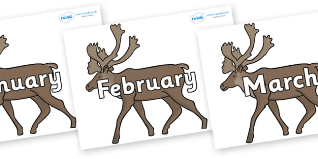 Months of the Year on Caribous - Months of the Year, Months poster, Months display, display, poster, frieze, Months, month, January, February, March, April, May, June, July, August, September