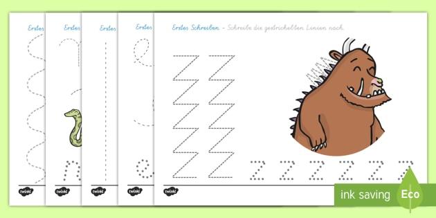Erstes Schreiben Linien Nachspuren für das Unterrichtsthema der Grüffelo - Grüffelo, Schreibmotorik, Linien Nachspuren, German