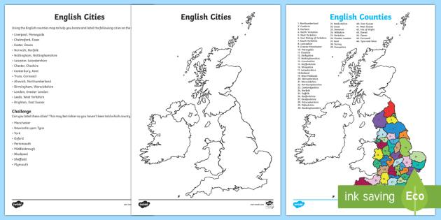 Map Of England Counties And Cities.New English Counties And Cities Maps Activity English Map Display