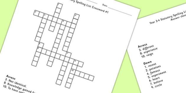 Year 3-4 Statutory Spelling List Crossword 1 - crossword, spell