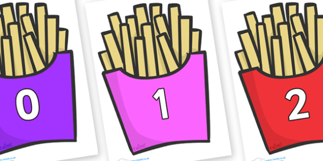 Numbers 0-100 on French Fries - 0-100, foundation stage numeracy, Number recognition, Number flashcards, counting, number frieze, Display numbers, number posters
