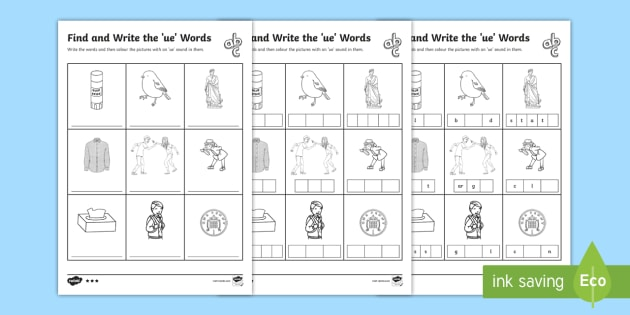 Find and Write the ue Words Differentiated Worksheets