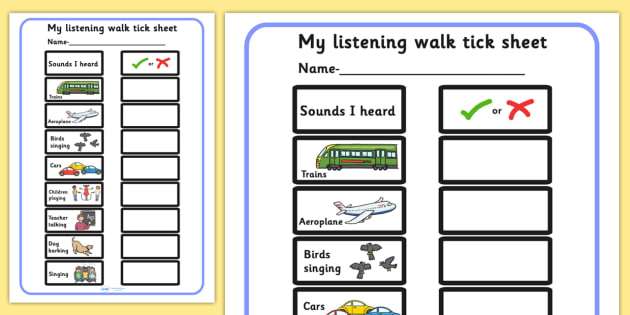 My Listening Walk Checklist Sheet - listen, walk, outdoors, writing sheet