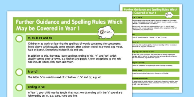 Parent Guidance for Spelling in Year 1 - spell, words, guide