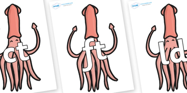Final Letter Blends on Squids - Final Letters, final letter, letter blend, letter blends, consonant, consonants, digraph, trigraph, literacy, alphabet, letters, foundation stage literacy