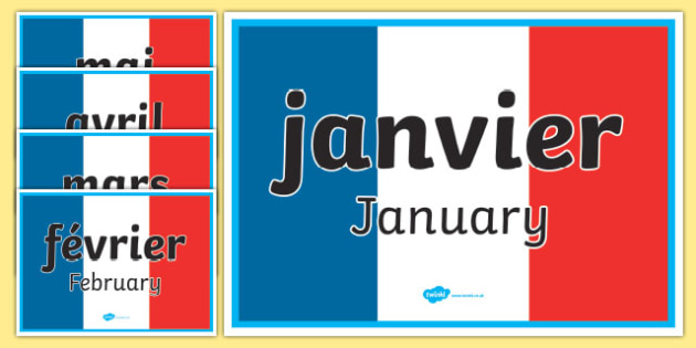 Months of the Year Display Signs French - months of the year, display signs, display, signs, french, months, year