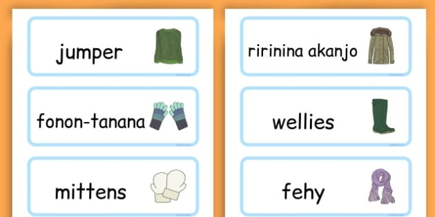 Winter Clothes Word Cards - winter clothes, word cards, winter, clothes - Malagasy