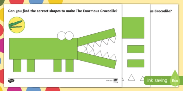 Crocodile Shape Worksheet / Activity Sheet Pack to Support Teaching on The Enormous Crocodile - The Enormous Crocodile, Roald Dahl, worksheet