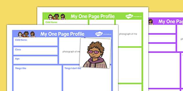 My One Page Profile Primary - my one page, profile, primary