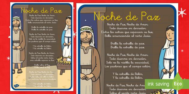 Noche de paz Póster DIN A4 - villancicos, canciones navideñas, cantar, navidad, Spanish