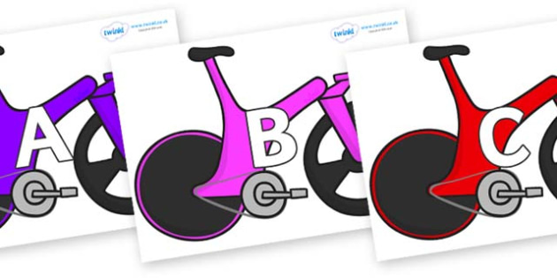 A-Z Alphabet on Bikes - A-Z, A4, display, Alphabet frieze, Display letters, Letter posters, A-Z letters, Alphabet flashcards