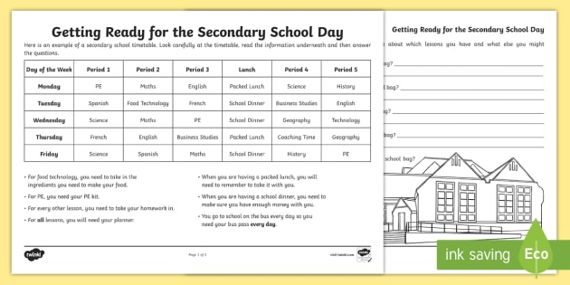 Getting Ready For The Secondary School Day Worksheet