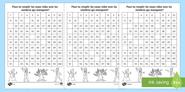 Grilles de nombres à compléter : L'hiver - Hiver, winter, grille, nombres, 100, remplir, suite, compter, séquence, ordre, numbers, square, mis