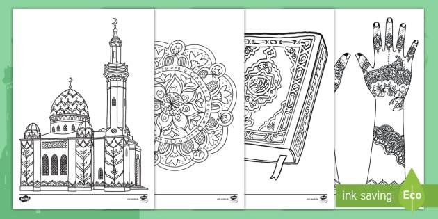 Eid Al Fitr Ausmalbilder Islam Muslime Moschee Beten Fasten Fest