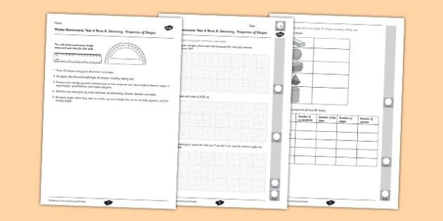 Year 6 Maths Assessment Term 3 Geometry Shape - test, key stage 2, 3D shaoe, 2D shape, geometric, properties