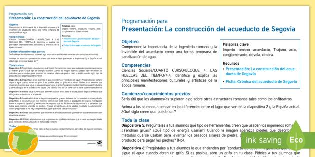 Programación: El acueducto de Segovia - Cuarto Curso Primaria, Ciencias