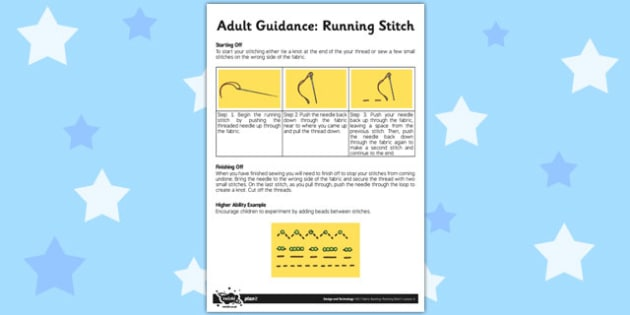 Adult Guidance Running Stitch - adult guidance, running stitch