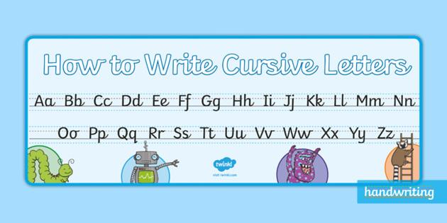 twinkl handwriting cursive alphabet a4 display banner display booklet. Black Bedroom Furniture Sets. Home Design Ideas