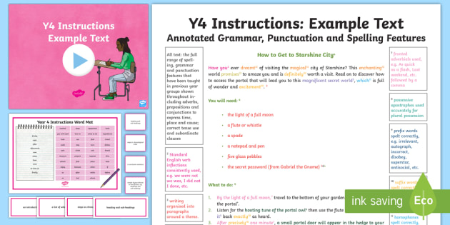Y4 Instructions Model Example Text Example Texts Y4