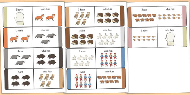 The Mitten 'I Have, Who Has?' Counting Activity - the mitten