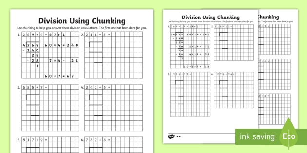 uks2 division using chunking differentiated worksheet activity. Black Bedroom Furniture Sets. Home Design Ideas