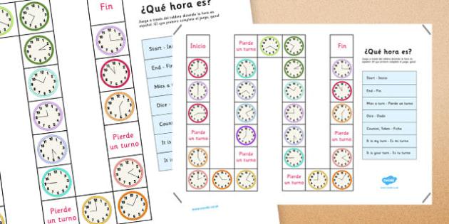 Juego de mesa ¿Qué hora es? - decir la hora, tell the time, what time is it, qu