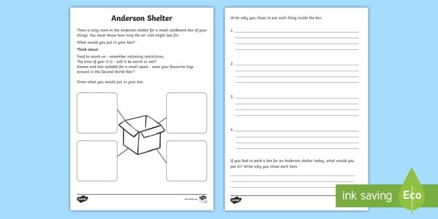 Anderson Shelter Worksheet - anderson shelter, anderson shelter worksheet, anderson shelter box worksheet, air raid shelter worksheet, blitz, ww2 worksheet