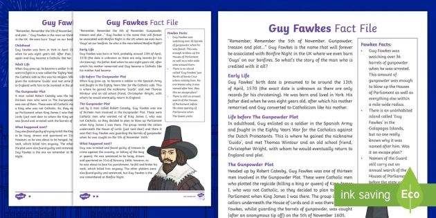 Guy Fawkes KS2 Differentiated Fact File - Office Requests, KS1, KS2, resource