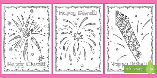 Diwali Fireworks Themed Mindfulness Colouring Pages