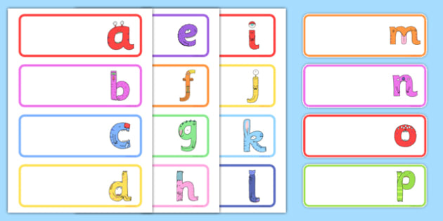 Lower-Case Monster Alphabet Drawer Peg Name Labels - topic, fun, entertaining, letters, formation, working, wall,