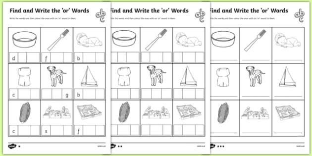 OR' Sound Phonics Words Worksheet