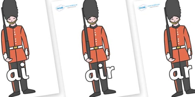 Phase 3 Phonemes on Royal Guards - Phonemes, phoneme, Phase 3, Phase three, Foundation, Literacy, Letters and Sounds, DfES, display